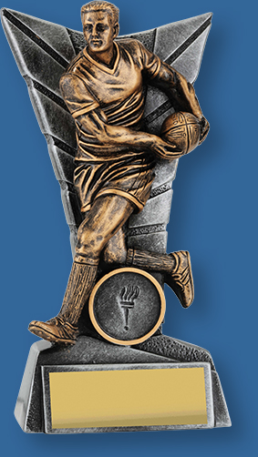 Male rugby trophy bronze figurte with silver backdrop and base