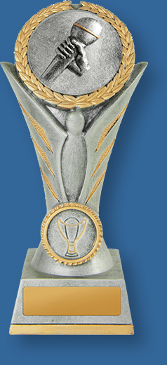 Academic & School Trophies Angel Victory Trophy. Tall Tower like trophy with schematic wings holding Microphone graphic. Grey and gold finish