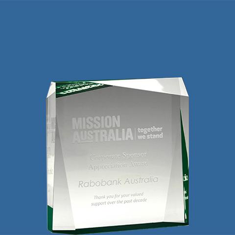 Acrylic award green prism