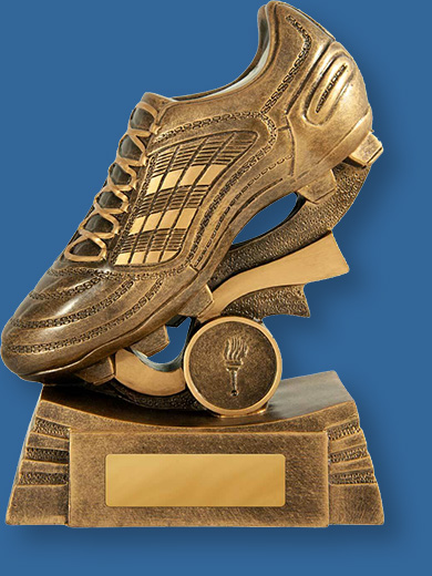 Aussie Rules trophy golden boot on gold base