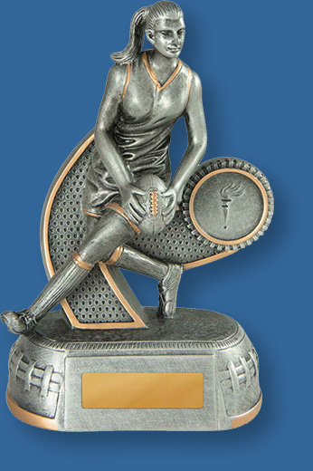 Aussie Rules trophy Mega star silver female figure