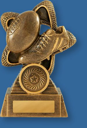 Aussie Rules theme trophy gold boot and ball