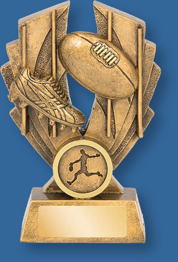 Australian Rules theme trophy gold with gold backdrop and base