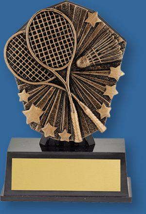 Badminton theme bronze trophy on black base