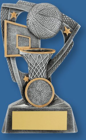 Basketball theme trophy silver ball on silver backdrop and base