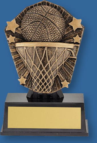 Basketball theme trophy bronze ball and backdrop on black base