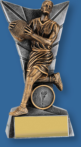 Basketball trophy male bronze figure with silver backdrop and base