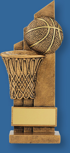 Basketball theme trophy gold ball and basket on gold backdrop
