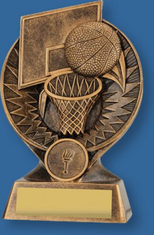 Basketball theme trophy bronze ball on bronze backdrop and base