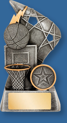 Basketball them trophy silver with silver backdrop and base