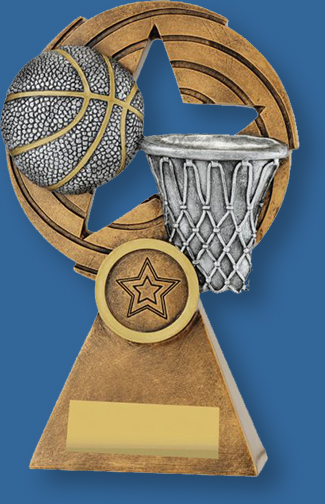 Basketball them trophy silver ball on gold backdrop and base