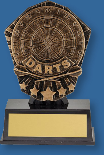 Darts theme bronze trophy on black base
