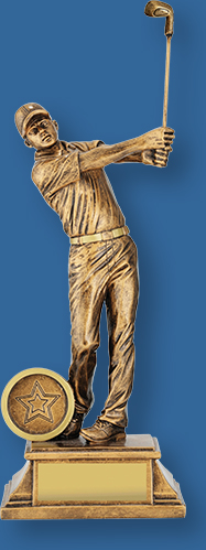 Male golfer gold figurine on black base