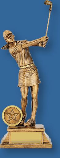 Female golf trophy gold figurine on gold base