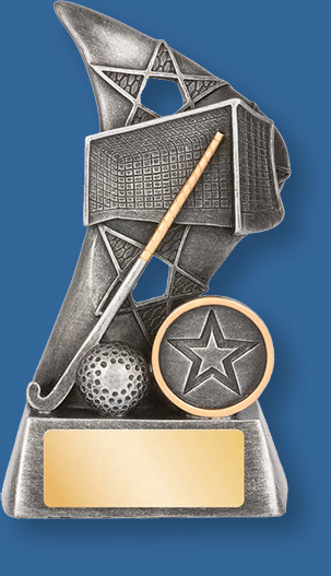 Hockey theme trophy silver stick on silver backdrop and base