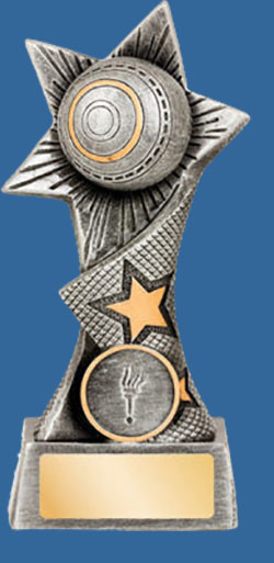 A tall designed Lawn Bowls Resin Trophy. The trophy depicts a Lawn Bowls ball in a star design at the peak. Antique Silver tone with gold trim.
