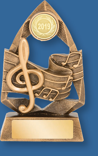 Music Trophy Generic Resin. Jewel Series gold with gold backdrop and base