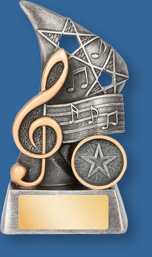 Music theme trophy Reno Series silver on silver backdrop and base