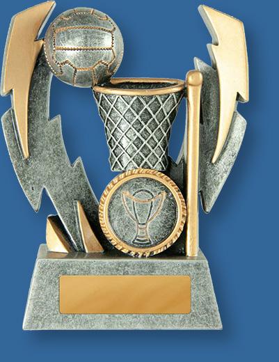 Netball theme trophy lightning strike silver