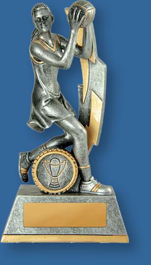 Netball trophy female figure silver lightning