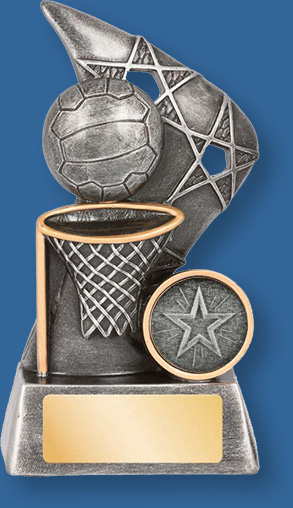 Netball theme trophy silver ball on silver backdrop and base