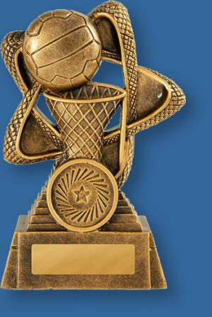 Netball theme trophy gold ball on gold riser and base
