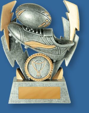 Rugby trophies silver boot and ball with lightning. Rugby Trophy Generic Resin. Double Lightning Series. Engravable plate.