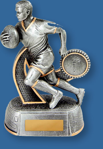 Rugby theme trophies male figure silver