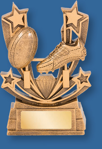 Rugby theme trophies gold with gold backdrop and base