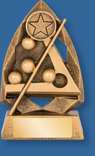 Snooker theme trophy gold with gold backdrop and base
