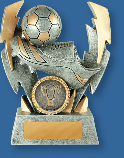 Soccer Trophy Double Lightning Strike TF#649-9_e. Small generic resin with antique silver and gold tones.