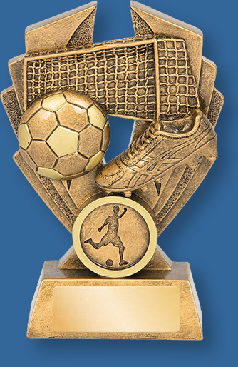 Soccer theme trophy gold with gold backdrop and base