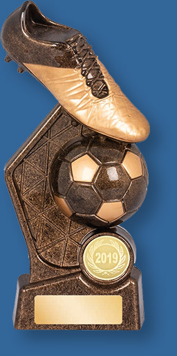 Soccer theme trophy black and gold boot and ball on base
