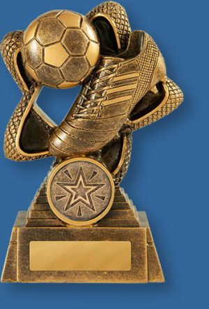 Soccer Trophy Rising Star TF#655-9_e. Soccer trophies Bronze coloured Resin Soccer Trophy with ball and boot detail.
