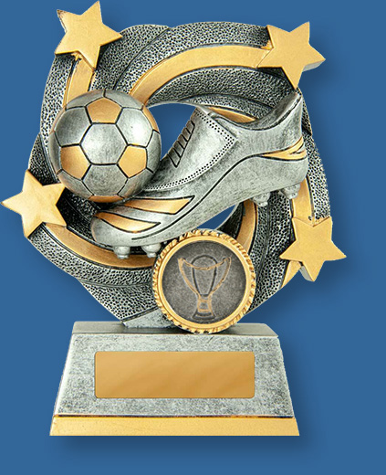 Soccer Trophy Typhoon TF#648-9_e . Antique silver and gold resin trophy with ball and boot detail.