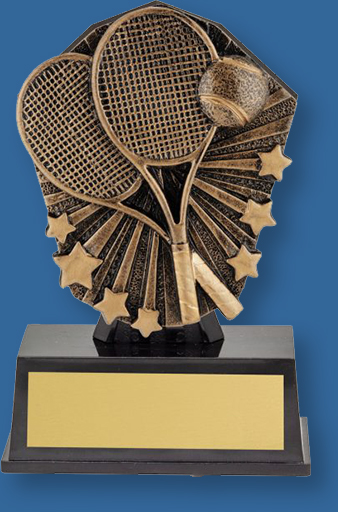 Tennis theme bronze trophy on black base