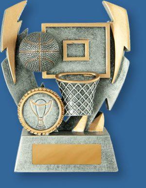 Basketball trophy silver ball on silver backdrop