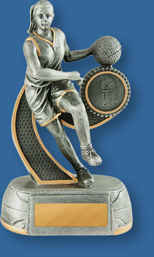 Basketbakk trophy female figurine silver