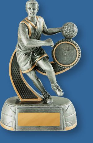 Basketball trophy male figurine silver