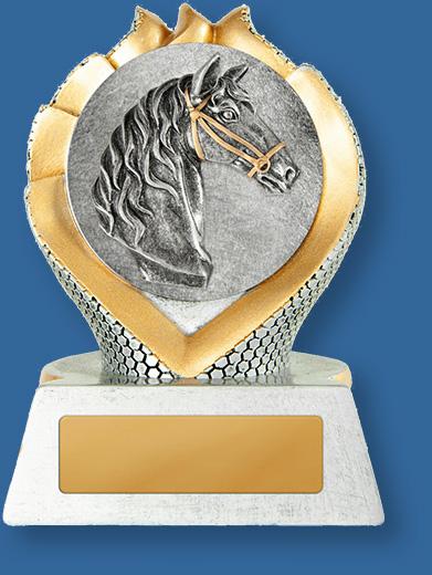 Equestrian trophy silver horse head in gold wreath