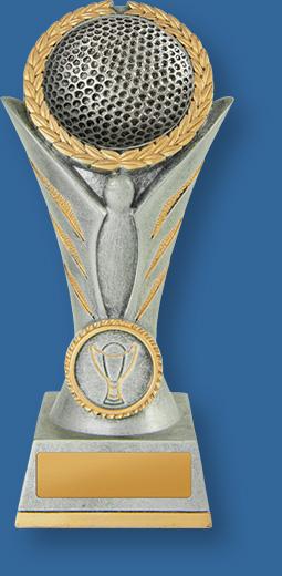 Golf trophies silver ball on riser