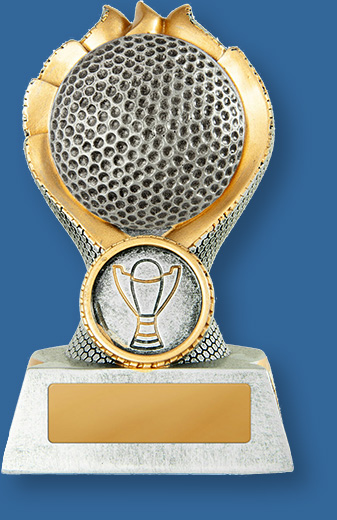 Golf trophy silver ball in gold wreath