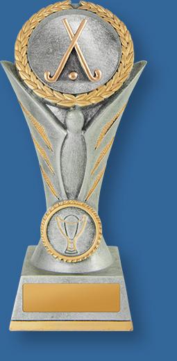 Hockey trophy gold sticks on silver riser