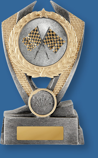 Motor Sports Trophies generic Resin. Hero Shield-Flags Series. . Medium size resin trophy. Antique silver with gold trim. Crossed flags detail.