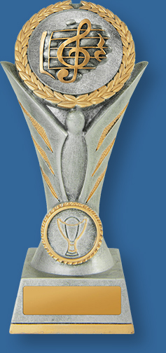 Tall Antique silver with gold trim resin trophy. Treble Clef detail on insert.Music Trophies Angel Victory Series