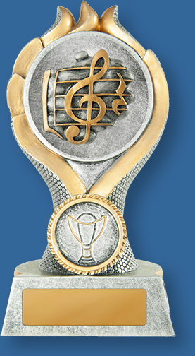 Music Trophies Sierra Tower TMus#W19-620_e.. Resin Generic trophy Antique silver with gold trom and Treble Clef detail.