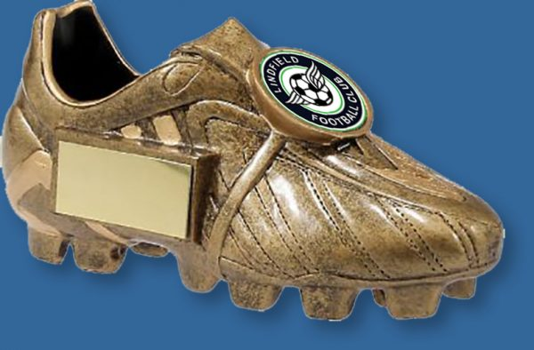 Gold Resin soccer boot trophy.