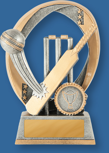 Antique Silver and Gold generic resin Cricket trophy with bat, ball and stumps graphic.