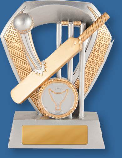 Light silver with bronze trim and Cricket bat ball and Stumps Resin Cricket Trophy