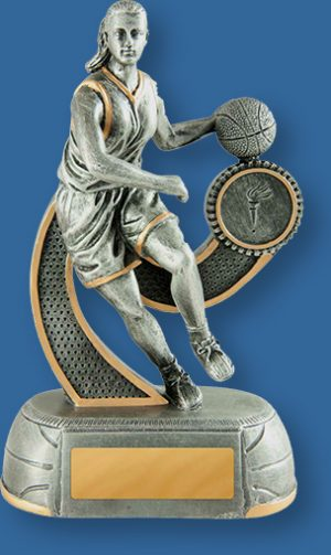 Female Basketball Resin Trophy Antique Silver Dribbling Action.